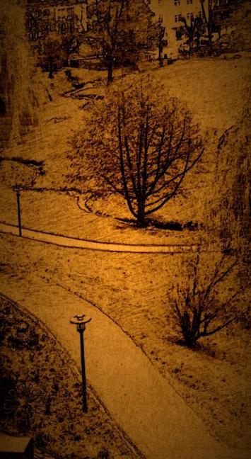"""Blick in den kleineren Park hinter der Rehaklinik.  In der Bildmitte: """"Warmer Bach"""" (Bild nach einem Foto)"""