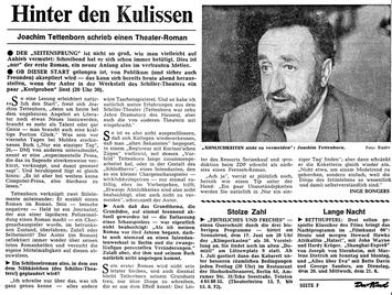 Presseartikel 'Hinter den Kulissen', Der Abend, 1972