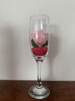 Champagne glas met foambloem