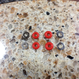 Silicone Rubber Bushings & Nickel Plated Washers, Red