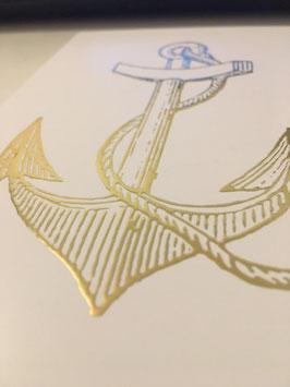 Postkarte Anker Gold