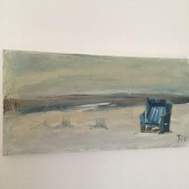 Bild mit blauem Strandkorb auf Norderney in 80x40 cm, handgemaltes Original