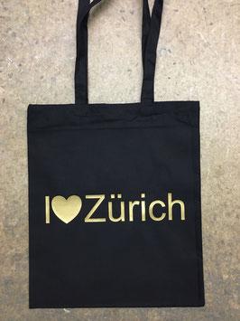 Stofftasche I <3 Zürich -  Schwarz/Gold