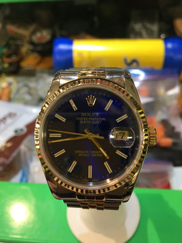 ROLEX DATEJUST STAINLESS/18K GOLD SUB BLUE DIAL