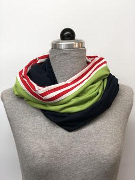 Schamütze - dünne Variante - dunkelblau/ grün und rotweiße Streifen