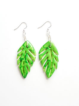 Large Green Palm Leaf Handcrafted Polymer Clay Earrings