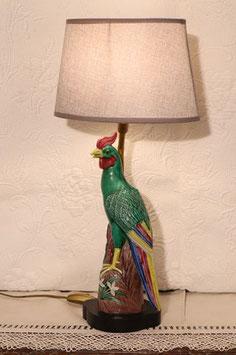Lampe au coq en céramique et abat-jour