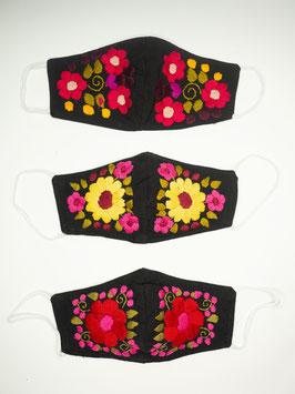NEU Farbenfroher Mundschutz / Maske mit Blumenstickerei (pink-schwarz)