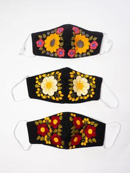 NEU Farbenfroher Mundschutz / Maske mit Blumenstickerei (schwarz-gelb)