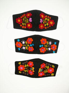 NEU Farbenfroher Mundschutz / Maske mit Blumenstickerei (schwarz-orange-rot)