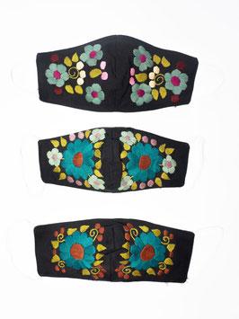 Mundschutz, Alltagsmaske mit Blumenstickerei (schwarz-petrol2)