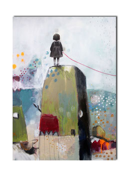 Postkarte kleine Kunst - Zauberwald Kind