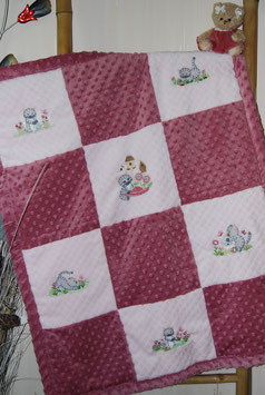 Couverture minky chatons vieux rose/rose clair