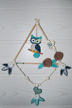 Mobile chouette turquoise