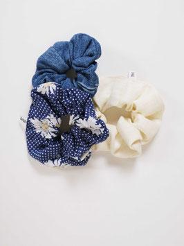 reworked scrunchie set denim flowers linen