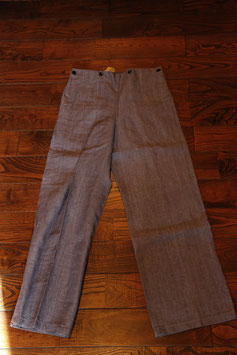 1960's~ DEAD STOCK  FRENCH  NAVY  LINEN  SAILOR  TROUSERS
