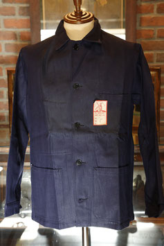 "1940's~ DEAD  STOCK  INDIGO  LINEN×COTTON  WORK  JACKET ""AU MOLINEL"""