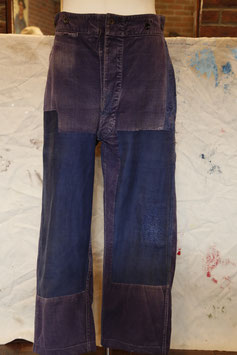 1930~40's  FRENCH  TROUSERS  PATCHED  INDIGO  CANVAS