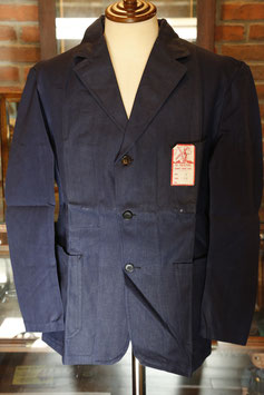 "1940's~ DEAD STOCK  INDIGO  LINEN×COTTON  3B WORK  JACKET  ""AU MOLINEL"""