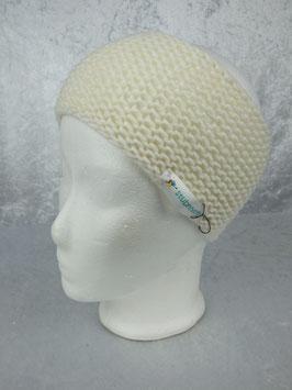 Stirnband in wollweiß mit Perlmuster
