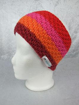 Stirnband in dunkelrot/orange/pink/rot gestreift