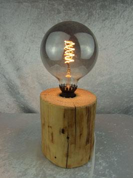 Tischlampe aus Baumstammstück, mit Bienenwachs behandelt