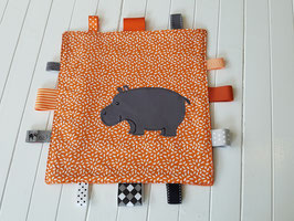 Knistertuch Applikation Hippo orange