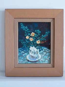 Encadrement en carton ondulé avec baguette double niveau pour une peinture.
