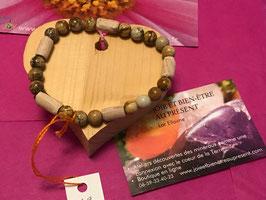 Bracelet Jaspe paysage 8 mm parsemé de perles de hêtre - HOMME et FEMME