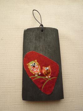 ふくろう壁飾り(赤)