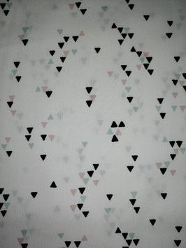Baumwolle weiß mit kleinen Dreiecken in schwarz/rosa/mint, Grundpreis: 10,90€/m