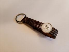 Sleutelhanger leder croco black/silver