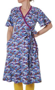 NEU: Kurzarm-Wickelkleid für Damen mit Veilchen in Blau/Violet von DUNS