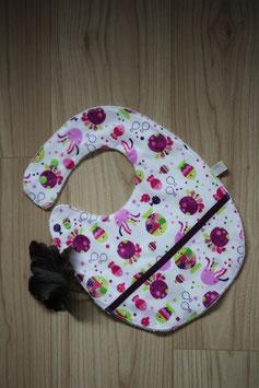 Bavoir coton enduit avec récupérateur, garanti SANS PHTALATES (obligatoire chez enfant -36 mois)