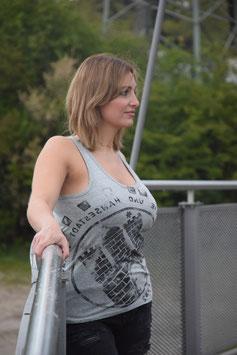 Damen Top grau/schwarz