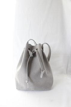 Stone grey leather bucket bag