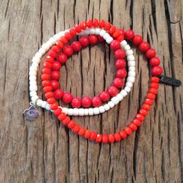 3er Bracelet rot-orange