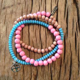 3er Bracelet türquise/rosa Erde