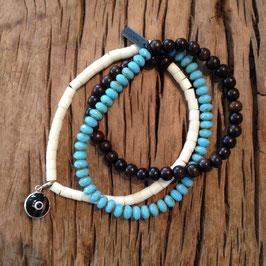 3er Bracelet türquise türkisches Auge