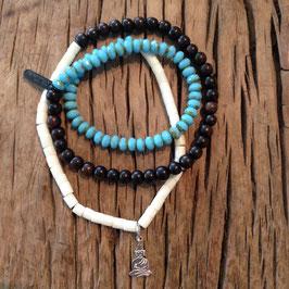 3er Bracelet türquise Budha