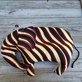 Coussin éléphant en coton imprimé jaune, noir et bordeaux