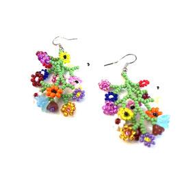 Ohrringe Perlenarbeit Kleine Blüten