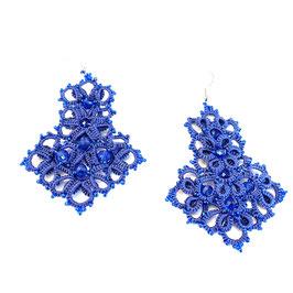 Ohrringe  blau Perlenarbeit