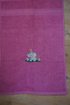 KINDER-HANDTUCH pink mit Elefäntli