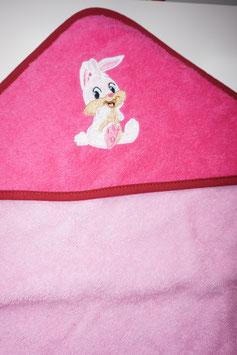 KAPUZENBADETUCH 80 X 80 CM  rosa mit Kapuze pink mit Motiv Häslimit Häsli
