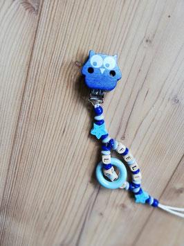 Schnullerkette Blau Eule (Doppelname)