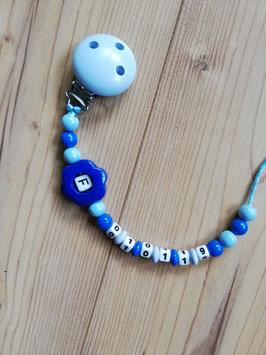 Schnullerkette Blau Blume