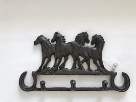 Garderobenhaken Pferde 3er Haken Gusseisen Braun 27 x 14 x 3,5 cm