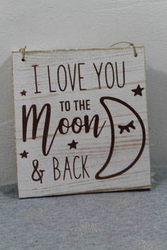 Pancarte en bois de palette pour chambre d'enfant love you to the moon and back Petite
