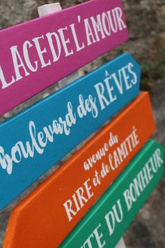 Pancarte directionnelle en couleurs